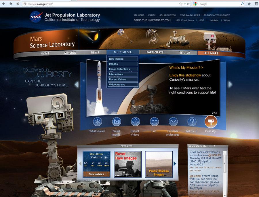 Page de garde du site Mars Science Laboratory, surnommé Curiosity