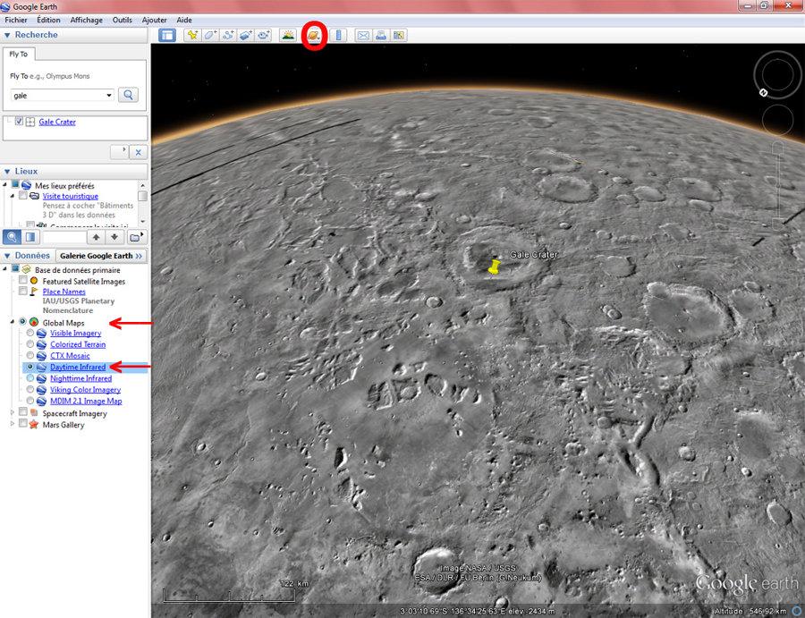 Vue Google Mars assez éloignée du cratère Gale, images infra-rouge diurnes (Daytime Infrared)