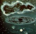 Représentation artistique du scénario hypothétique de formation du système solaire à partir du nuage primitif