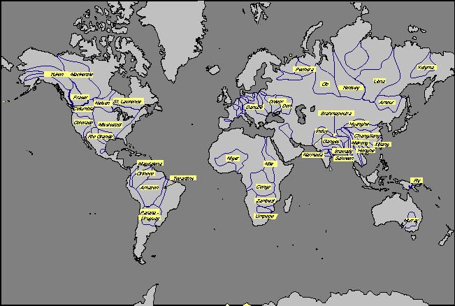 Carte de localisation des très grandes rivières données dans le tableau 2