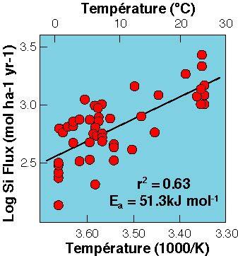 Dépendance des taux d'exportation de silice dans des petites rivières granitiques en fonction de la température moyenne des bassins (White et al. 1999).