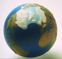 Reconstitution des calottes glaciaires et des côtes au dernier maximum glaciaire, il y a 21000 ans.