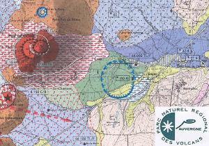 Extrait de la carte géologique du Parc Naturel Régional des Volcans d'Auvergne.