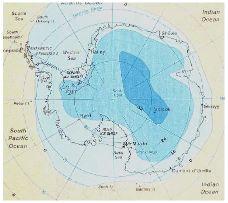 Température de surface en Antarctique pour le mois de janvier