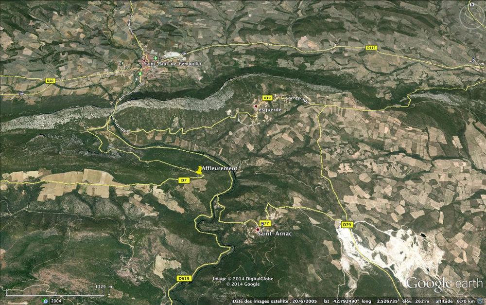 Localisation de l'affleurement étudié, sur la D7, route des Albas, Felluns