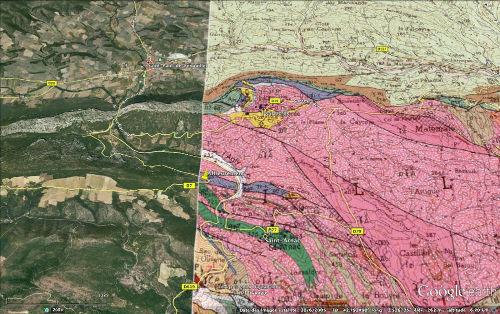 Localisation de l'affleurement avec superposition de la carte géologique de Rivesaltes au 1/50000