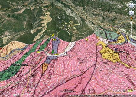 Vue oblique de la zone de l'affleurement, avec carte géologique superposée