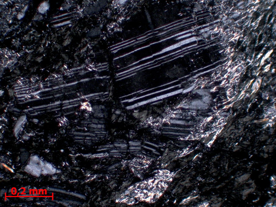 Détail d'un porphyroclaste de plagioclase microfaillé, LPA
