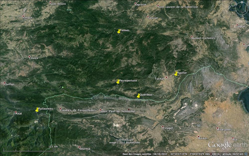 Localisation des «cinq fils de Carcassonne»