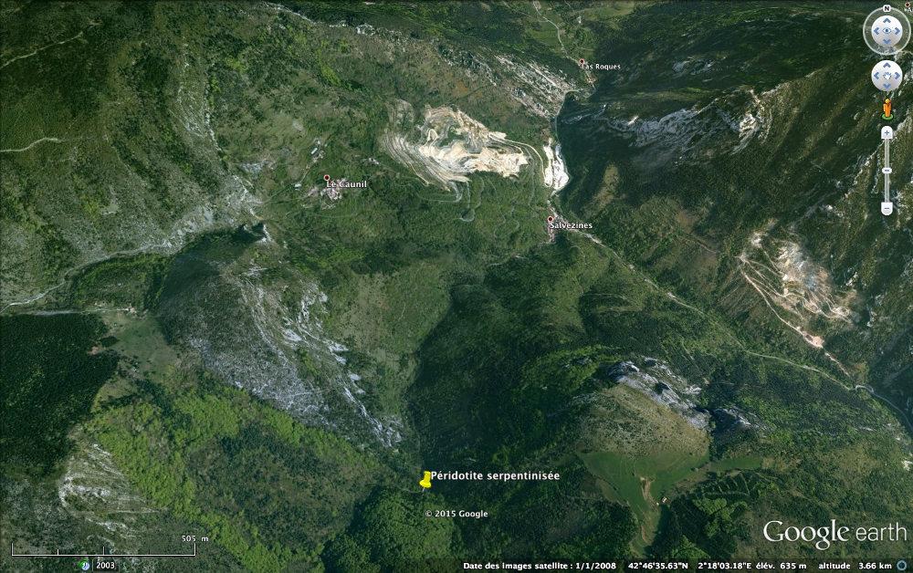 Localisation de l'affleurement de péridotite mantellique serpentinisée à proximité du massif de Salvezines