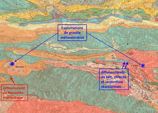 Localisation de l'affleurement de péridotite mantellique serpentinisée sur la carte géologique de Quillan au 1/80000