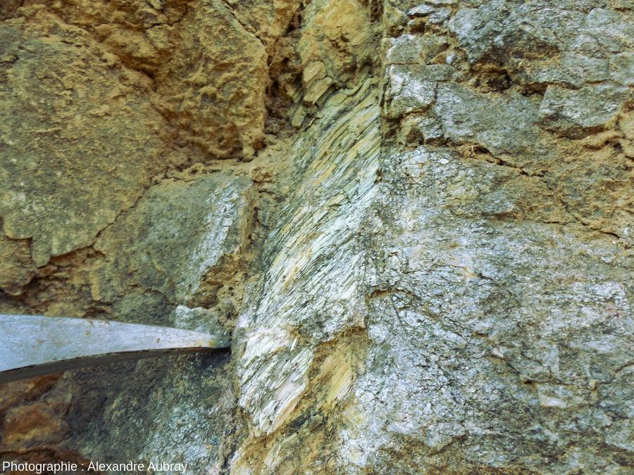 Détail de l'affleurement de péridotite mantellique au niveau du village de Bestiac montrant une veine de serpentine