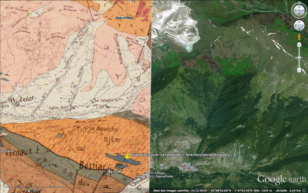 Localisation et géologie (quand disponible) du massif péridotitique (lherzolithique) de Bestiac, au Sud de la carrière de talc de Trimouns