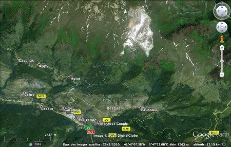 Localisation de la carrière de talc de Luzenac-Trimouns