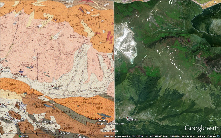 Localisation et géologie de la carrière de talc de Luzenac-Trimouns