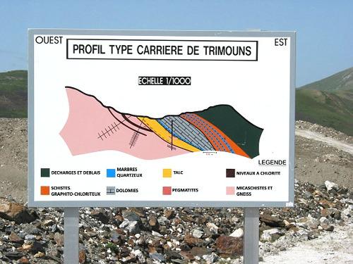 Panneau explicatif proposé à l'entrée de la carrière de Trimouns