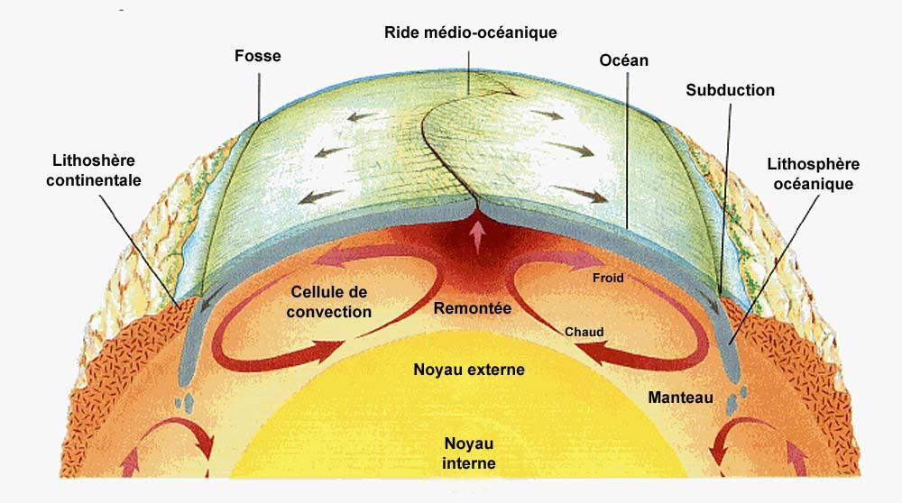 Schéma représentant le fonctionnement du globe dans le modèle de la tectonique des plaques, version 1970