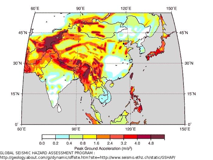 La sismicité en Asie