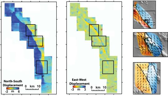 Données de corrélation d'images lors du séisme de Landers (Californie, 1992)