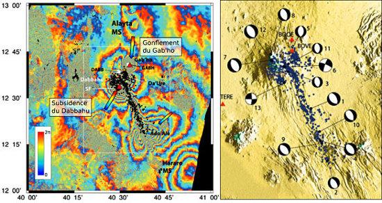 Interférogramme et sismicité couvrant la période du 28 octobre 2005 au 21 avril 2006