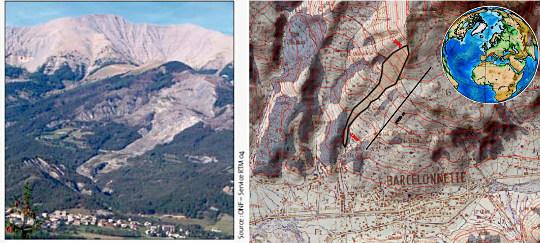 Localisation et aspect du glissement de La Valette (Barcelonnette)