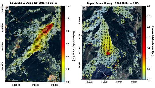 Suivi du déplacement du glissement de Lavalette et de Super Sauze (près de Barcelonnette) par corrélation d'images
