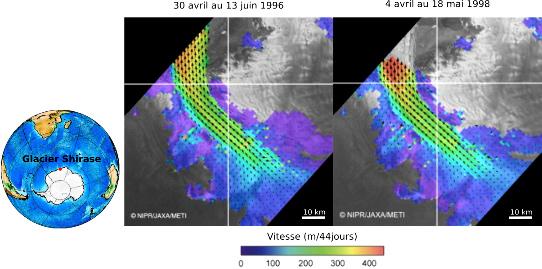 Suivi du déplacement d'un glacier (Shirase Glacier, Antarctique) par corrélation d'images radar