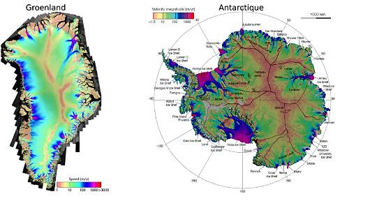 Cartes de vitesse de déplacement des glaces du Groenland et de l'Antarctique