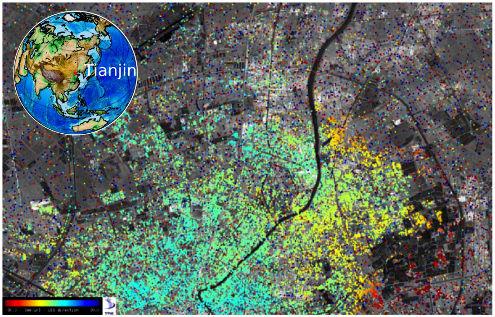 Subsidence urbaine dans la ville de Tianjin (Chine)