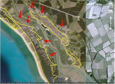 Limites des dunes (d'après la carte géologique BRGM) reportées sur fond Google earth