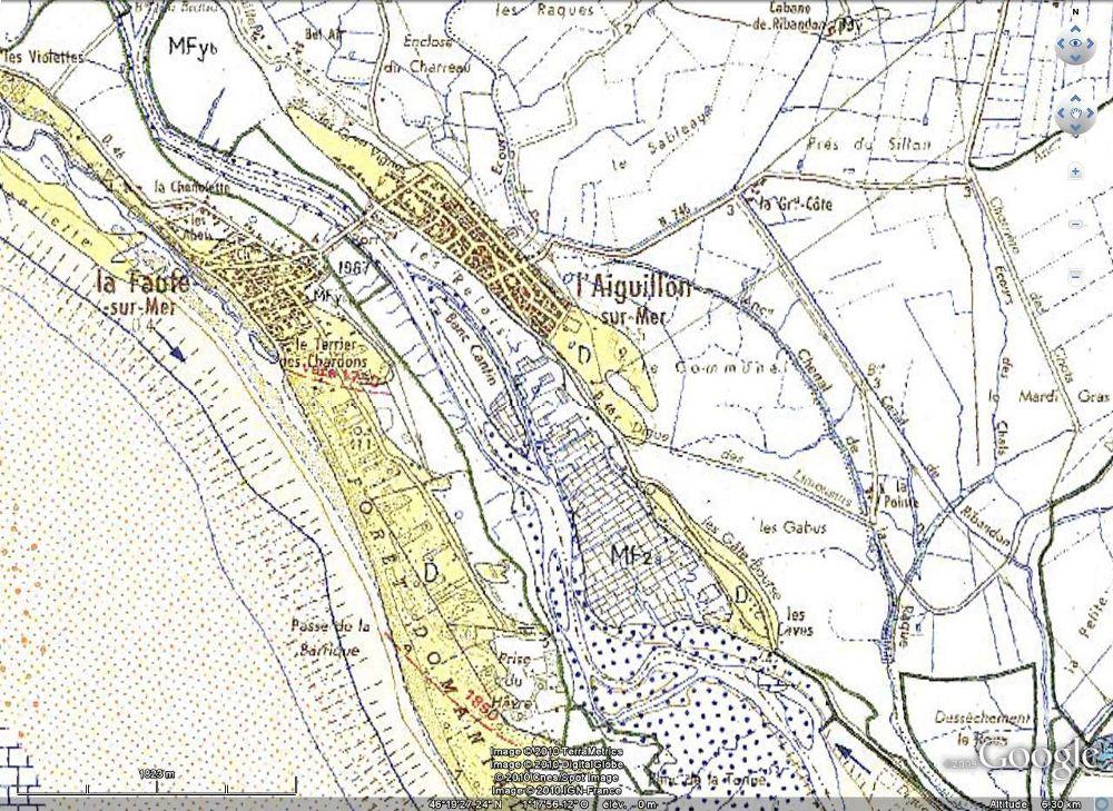 Extrait de la carte géologique au 1/50.000 du BRGM de l'Aiguillon sur Mer