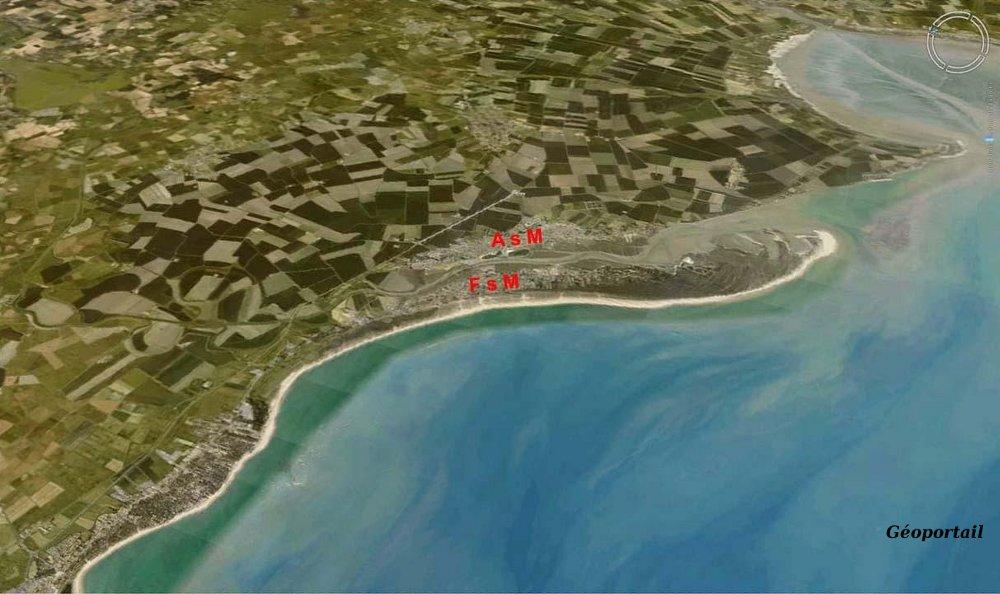 Photographie aérienne du secteur de l'Aiguillon sur Mer (AsM) et de la Faute sur Mer (FsM)