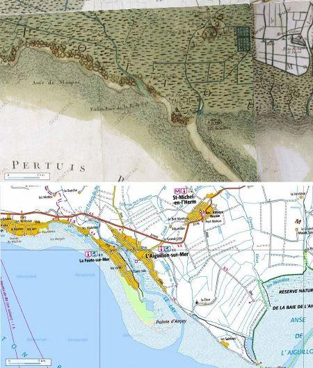 Comparaison entre la carte de Cassini et la carte IGN actuelle du secteur de l'Aiguillon sur Mer