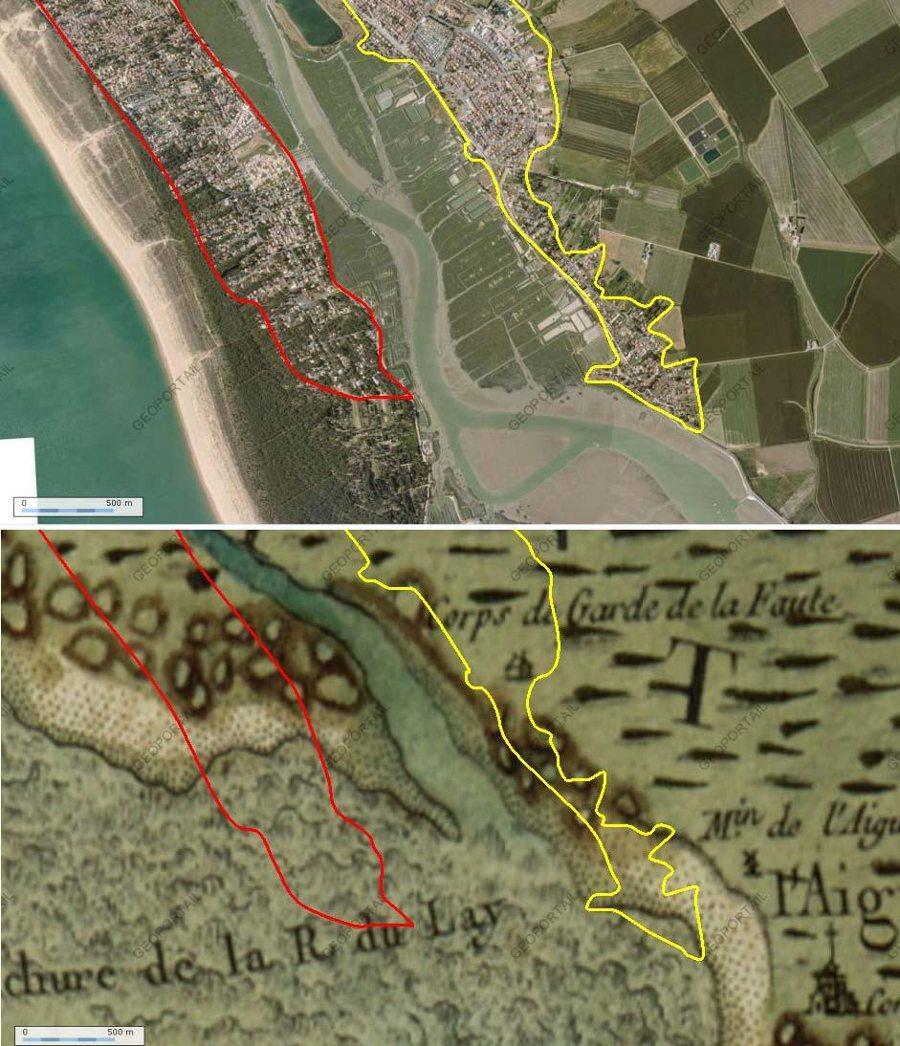 Comparaison détaillée entre la carte de Cassini et les photographies aériennes IGN actuelles du secteur Sud de l'Aiguillon sur Mer et la Faute sur Mer