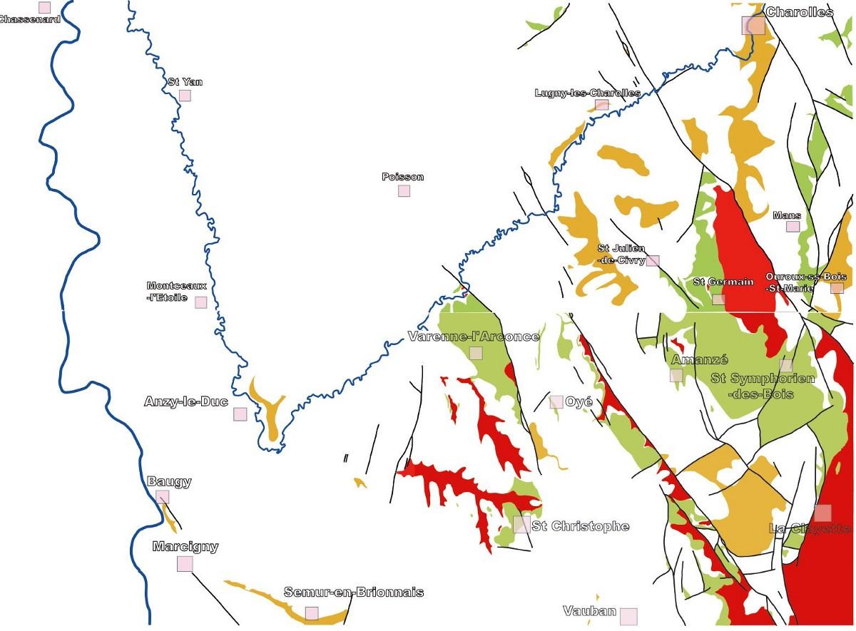 Carte des affleurements de calcaires à entroques (en beige) et des grès du Rhétien (en vert clair) en Brionnais