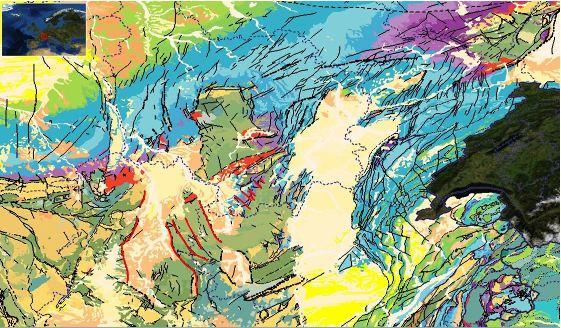 Extrait de la carte géologique harmonisée de l'Europe