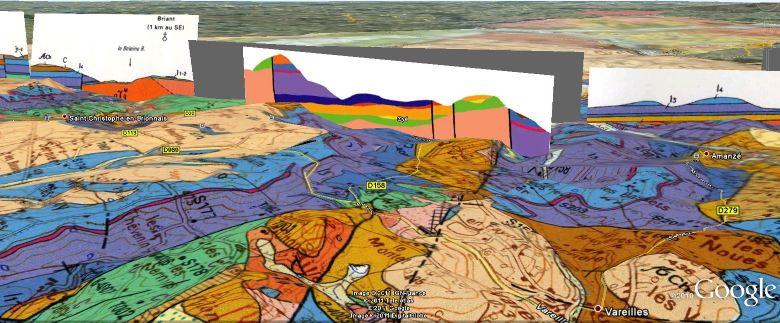 Détail de la carte géologique de Charolles et de coupes géologiques Est/Ouest, montrant un compartiment tectonique à l'aplomb de la Perrière/les Circauds à Oyé