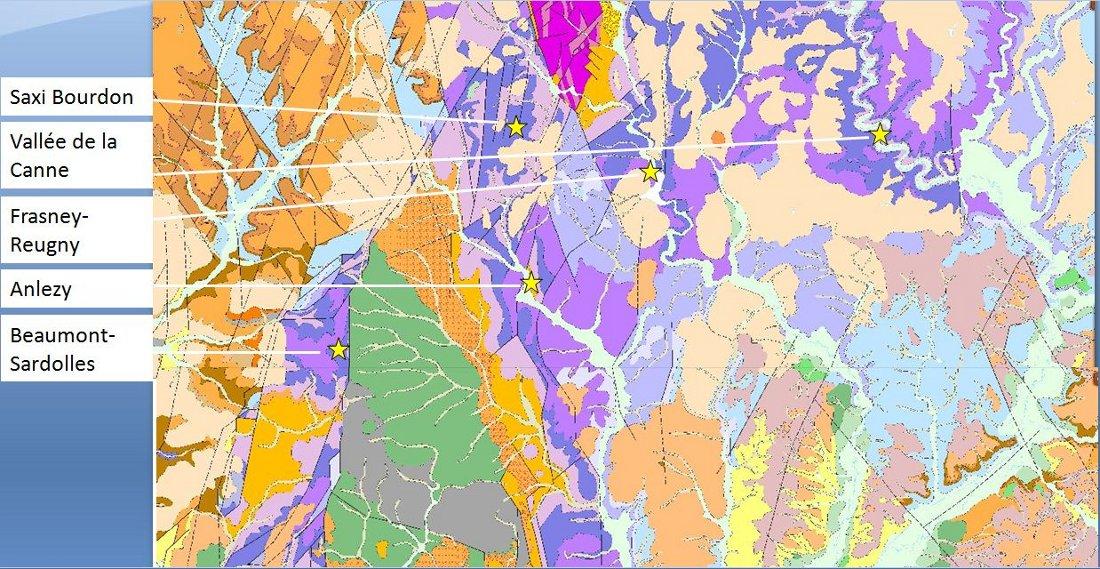 Carte des zones d'embouche de la Nièvre sur critère de réputation