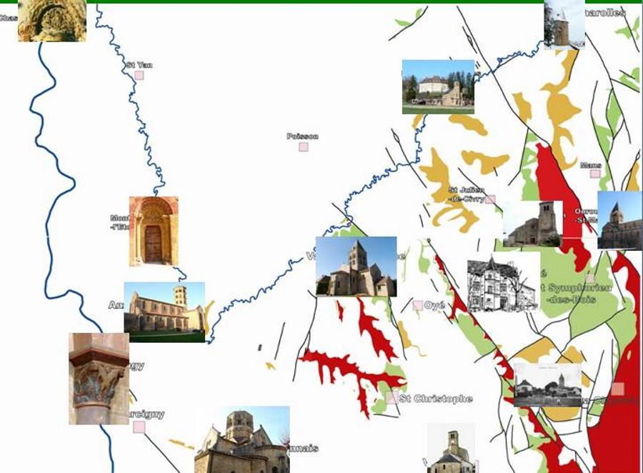Carte des principales églises romanes en Brionnais