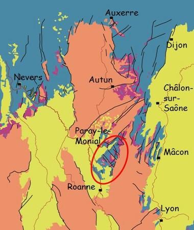 Carte géologique très simplifiée de la Bourgogne et de ses régions limitrophes