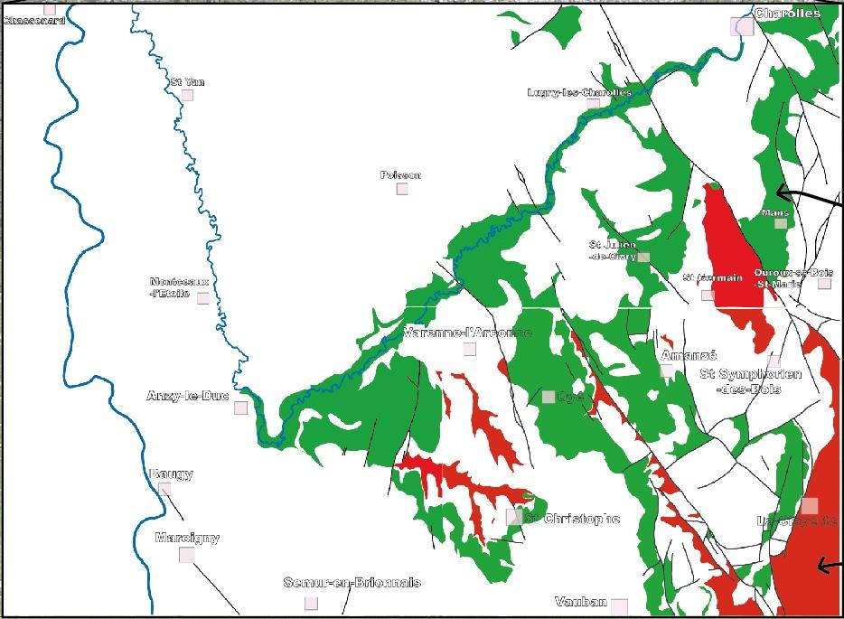 Carte de répartition des prairies d'embouches (en vert) par critère géologique dans le Brionnais
