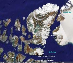 Localisation du site de découverte de Tiktaalik rosae, sur l'île d'Ellesmere, dans l'arctique canadien