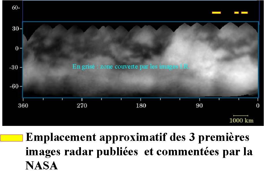 Carte de Titan avec les emplacements approximatifs des trois premières images radar publiées par la NASA