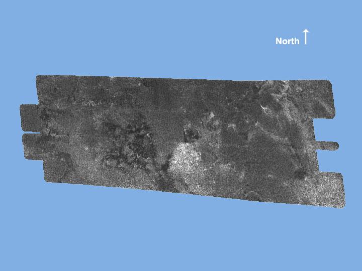 Image de Titan de 250 x 478km, centrée sur 50° lat. N et 54° long. O