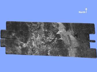 Image radar de la surface de Titan prise à 1200km d'altitude