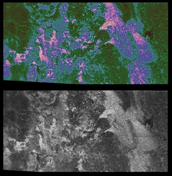 Image originale et interprétation colorée par la NASA d'une vue de la surface de Titan