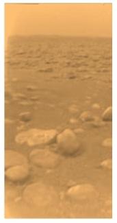 """Image """"vraies couleurs"""" du sol de Titan"""