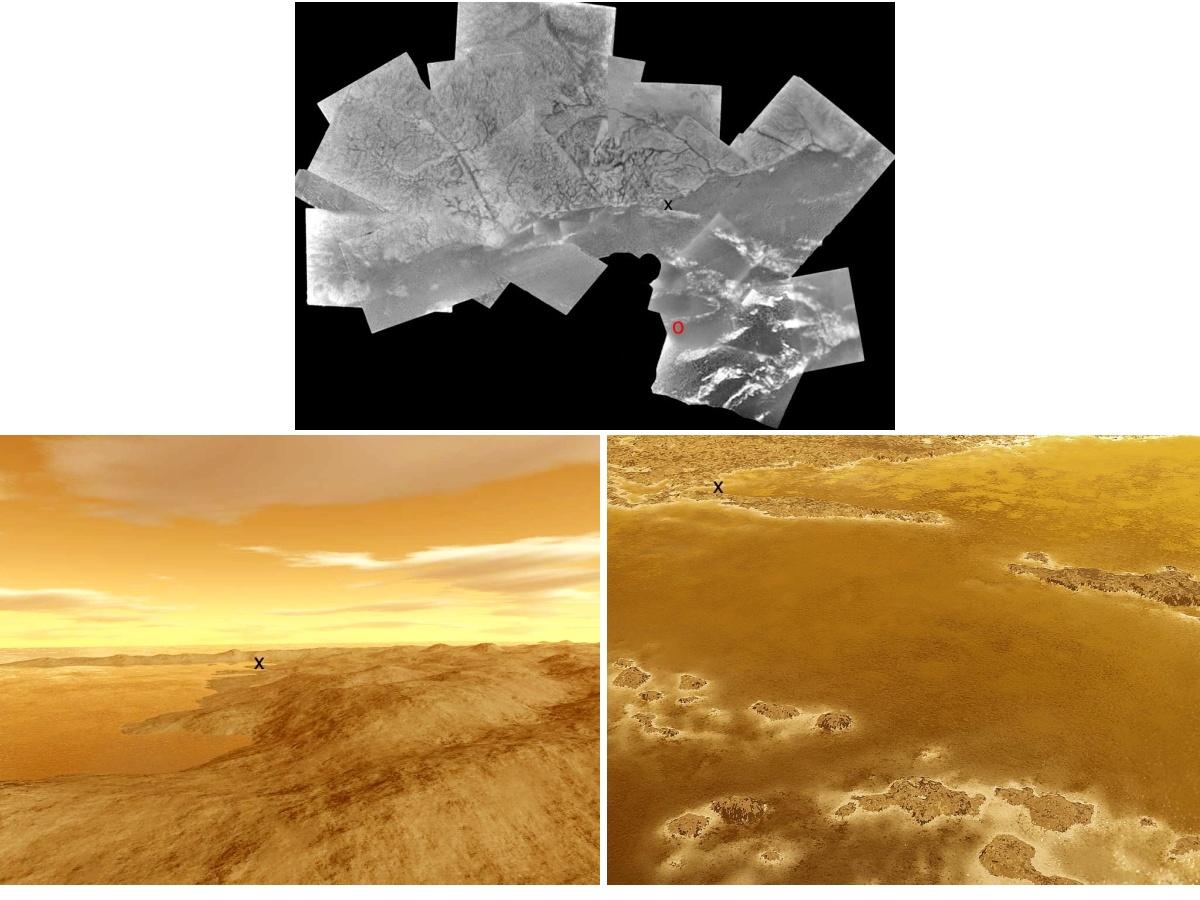Vue verticale et reconstitutions 3D d'une région de Titan à proximité du site d'atterrissage de Huygens