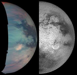 """Comparaison entre l'image 2-5μm (à gauche) d'avril 2005 et l'image """"classique"""" à 0,938μm (à droite) de décembre 2004"""