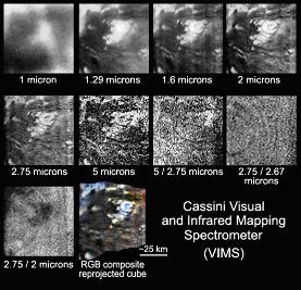 """Différents aspects du """"volcan"""" de Titan en fonction de la longueur d'onde d'observation ou de traitements variés"""